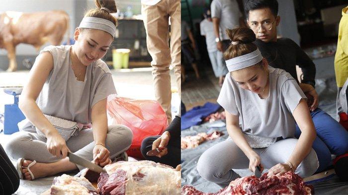 Deretan Foto Ayu Ting Ting Jadi Panitia Penyembelihan Hewan Kurban, Tak Jijik Potong Daging Segar