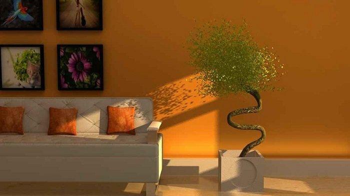 Desain interior rumah berwarna oranye.