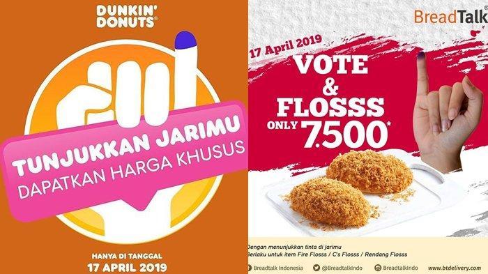 Ayo Nyoblos di Pemilu 17 April 2019, Dapatkan Diskon di 7 Gerai Kuliner ini, Cuma Tunjukkan Jari