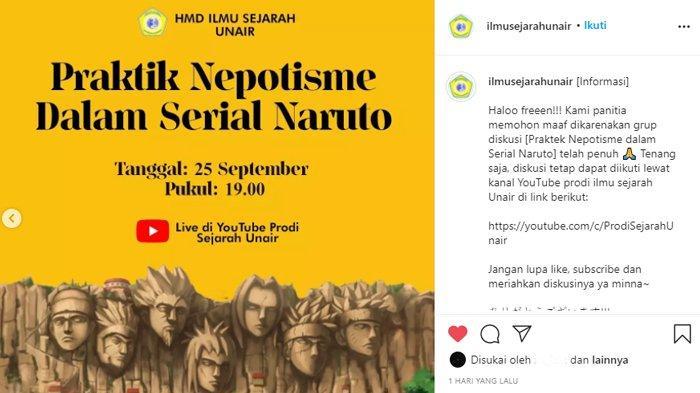 Uniknya Diskusi Mahasiswa Ilmu Sejarah Unair, Bahas Praktik Nepotisme dalam Serial Anime Naruto.
