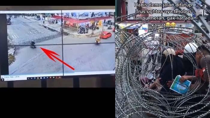VIRAL Ibu-ibu Naik Motor Lalu Nyangkut di Berikade Kawat Berduri, Ini Video Rekaman CCTV-nya