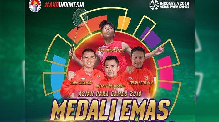 Tim Bulu Tangkis Beregu Putra sumbang emas pertama bagi Indonesia di Asian Para Games 2018.
