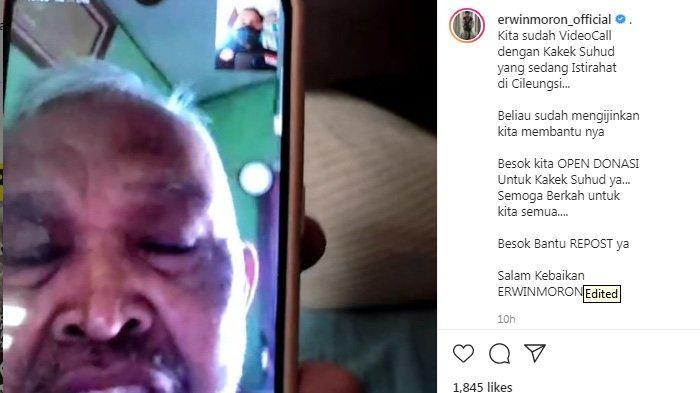 Erwin Moron gelar donasi untuk kakek Suhud.