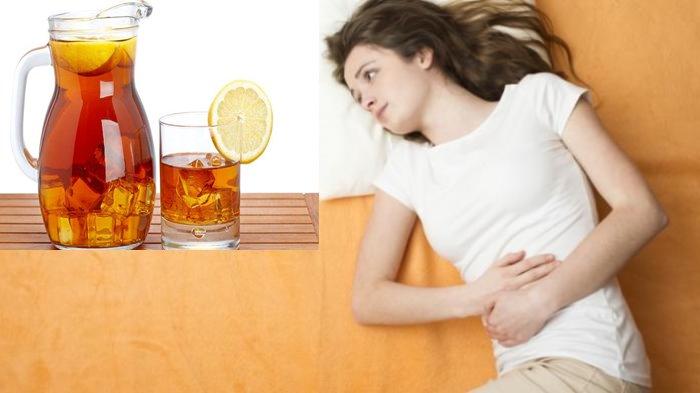 Ilustrasi bahaya terlalu banyak minum es teh.