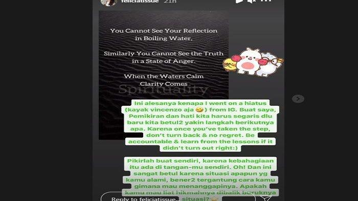 Felicia Tissue unggah story di Instagram setelah hiatus
