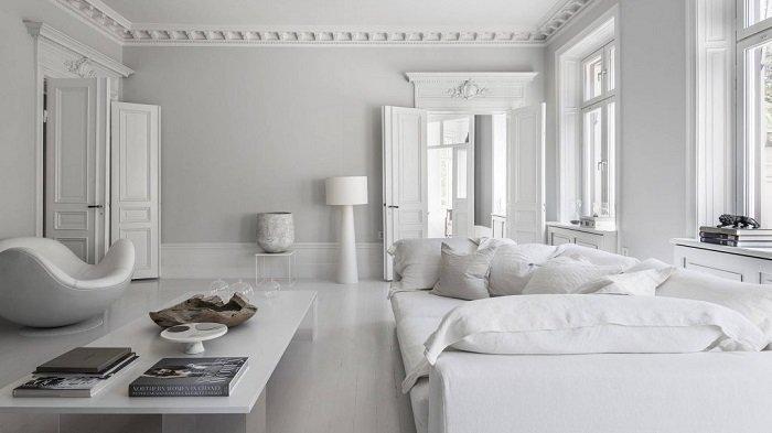 Dekor dan desain interior rumah warna putih.