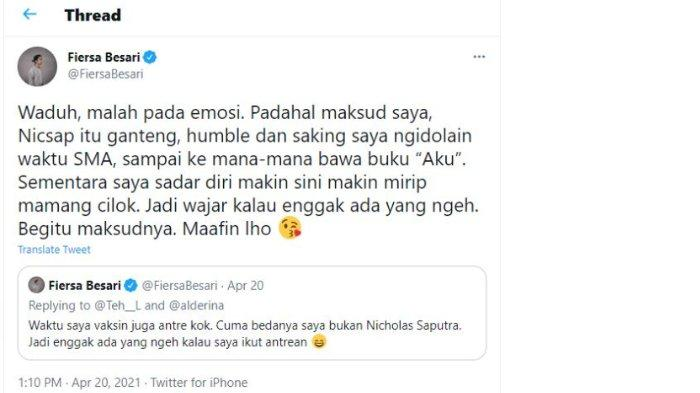 Fiersa Besari komentari viral Nicholas Saputra viral antre vaksin