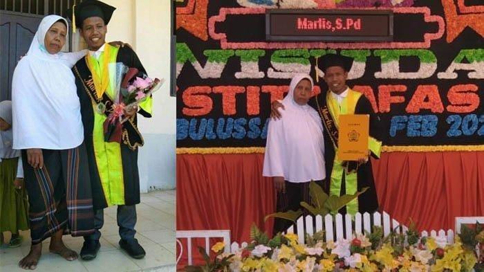 Foto kolase seorang ibu dengan mengenakan pakaian lusuh tanpa alas kaki menghadiri wisuda putranya di Sekolah Tinggi Ilmu Tarbiyah Hamzah Fansuri (STIT Hafas) Kota Subulussalam, Sabtu (13/2/2021), yang viral di media sosial Facebook