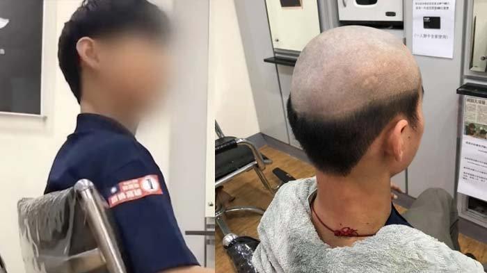 Beri Efek Jera karena Keluyuran saat Pandemi, Ibu Ini Cukur Rambut Anaknya, Botak Bagian Atasnya