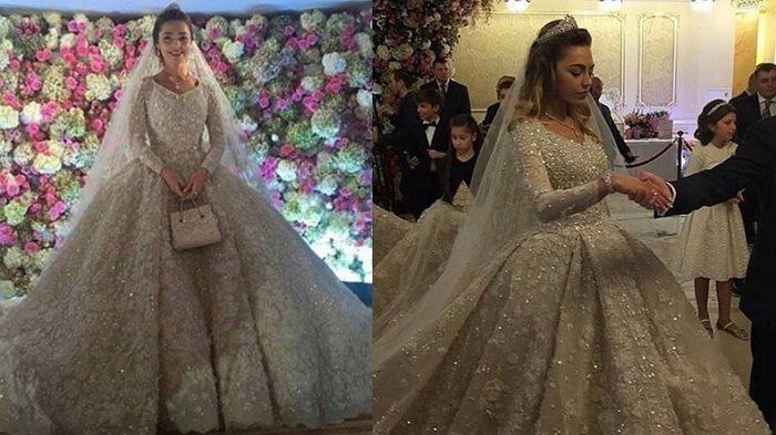 Gaun pengantin Khadija senilai Rp 14 triliun (Instagram @wedding_world)