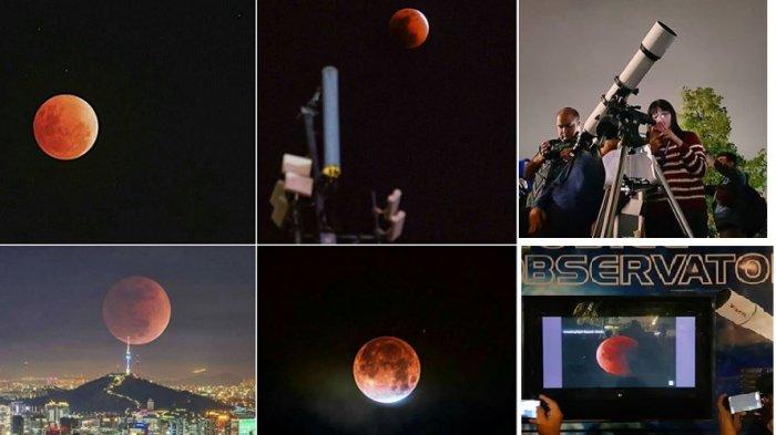 Penampakan gerhana bulan di berbagai kota di Indonesia pada Rabu malam 31 Januari 2018.