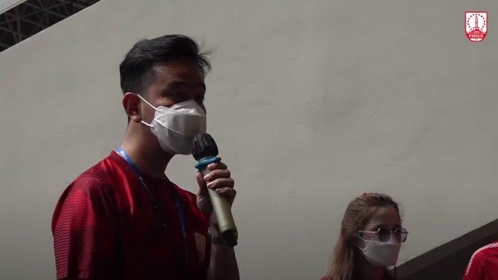 Gibran Rakabuming Raka saat Rapat Umum Pemegang Saham Luar Biasa (RUPSLB) PT Persis Solo Saestu (PSS), Sabtu (20/3/2021).