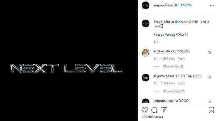 Girl Group Aespa unggah teaser misterius bertuliskan 'Next Level'