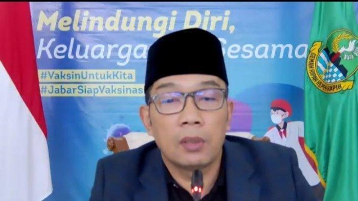 Gubernur Provinsi Jawa Barat Ridwan Kamil dalam acara Silaturahmi Virtual bersama Menkopolhukam dan Menteri Agama serta para pengasuh Pondok Pesantren dan Ulama se-Jawa Barat, Minggu (25/7/2021).