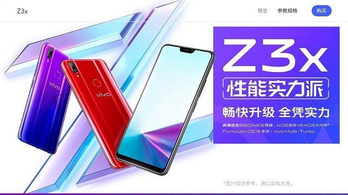Harga dan Spesifikasi Vivo Z3x, Ponsel Seri Z dari Vivo, Keluarkah Nanti di Indonesia