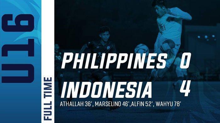 HASIL AKHIR Timnas U-16 Indonesia vs Filipina Kualifikasi Piala Asia 2020 Tim Garuda Menang 4-0