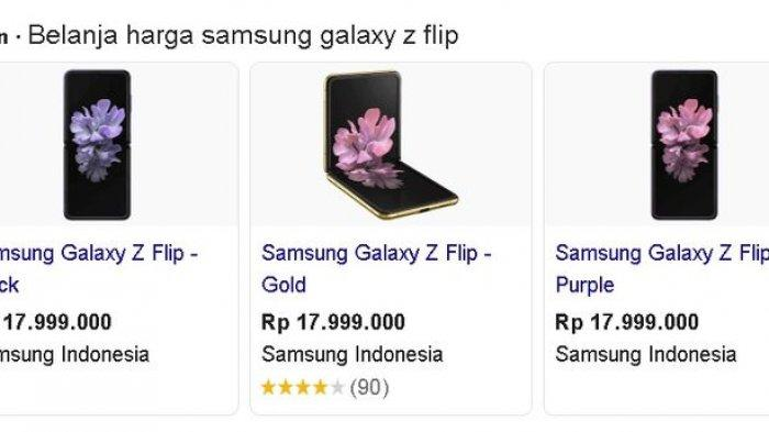 Hasil update harga Samsung Galaxy Z Flip.
