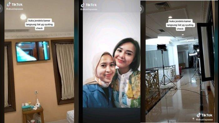 Tangkapan Layar video akun TikTok @akusiiapaaaa. Seorang perempuan beruntung bisa melihat langsung proses syuting sinetron Ikatan Cinta dari depan kamarnya. (TikTok)