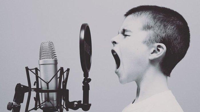Ilustrasi bernyanyi, menciptakan musik.