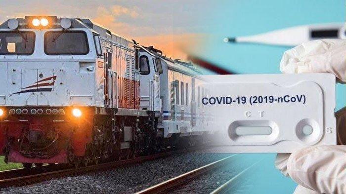 Ilustrasi rapid test dan kereta api.