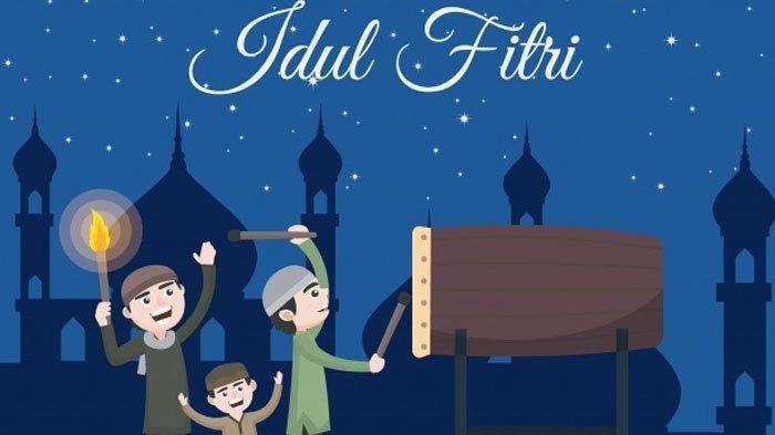 Ilustrasi takbiran malam Idul Fitri.
