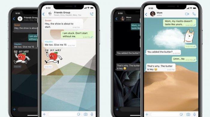 Ilustrasi tampilan wallpaper di kolom chat aplikasi WhatsApp