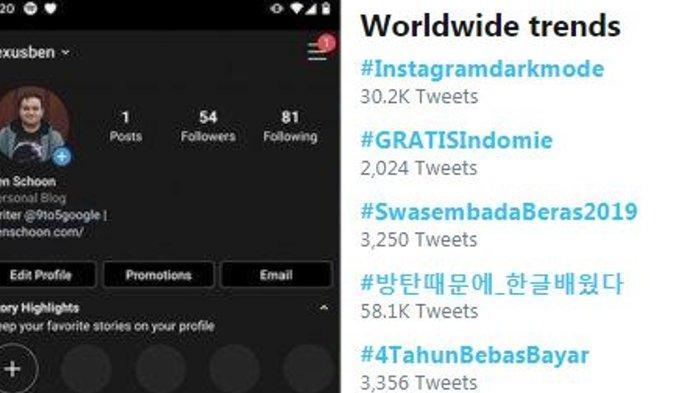 Tagar #instagramdarkmode Jadi Trending di Twitter, Simak Cara Ubah Tampilan Instagram Jadi Gelap