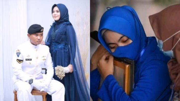 ISAK TANGIS Istri Serda Pandu, Pilu Peluk Foto Suami saat Tabur Bunga KRI Nanggala: Ketemu di Surga
