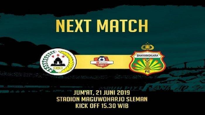 LIVE STREAMING - PSS Sleman vs Bhayangkara FC Liga 1 2019 di Indosiar Jumat Jam 15.30 WIB