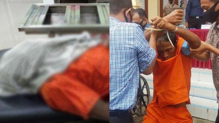 Jasad tersangka Samsul Bahri terbaring di ruang jenazah RSUD Langsa, Aceh, Minggu (18/10/2020) (kiri). Samsul Bahri (41), tersangka pembunuhan Rangga dan pemerkosa ibunya, Dn, dihadirkan saat konferensi pers di Polres Langsa, Selasa (13/10/2020) lalu. Ia harus dipapah petugas karena luka tembak di kakinya (kanan).