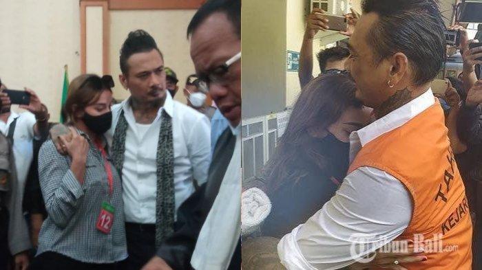 Jerinx usai menjalani sidang vonis di PN Denpasar, Kamis (19/11/2020) (kiri) dan saat ulang tahun Nora Alexandra (kanan)