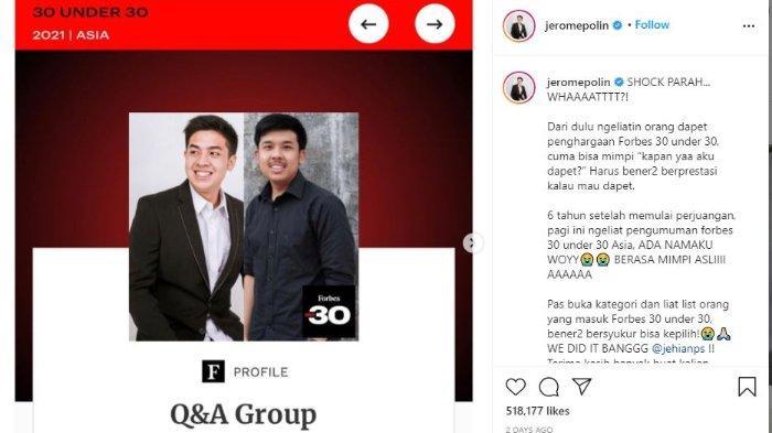 Jerome Polin dan sang kakak, Jehian masuk daftar Forber 30 Under 30 Asia 2021.