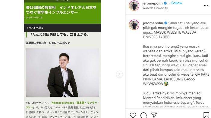Jerome Polin girang lihat dirinya berhasil masuk di website kampusnya, Universitas Waseda di Jepang.