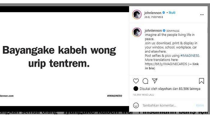 John Lennon unggah postingan berbahasa Jawa