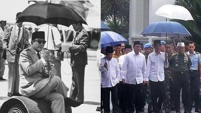 Menarik! Aksi 'Payungan Sendiri' Ala Jokowi dan Bung Karno, Lihat Persamaannya!