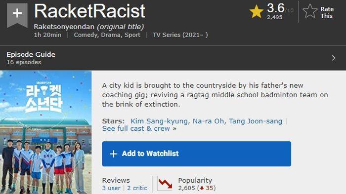 Selain Rating Turun, Judul Drama Korea Racket Boys Berubah Jadi Racket Racist di Situs IMDb