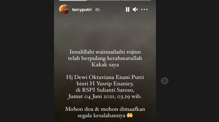 Kakak Terry Putri meninggal dunia