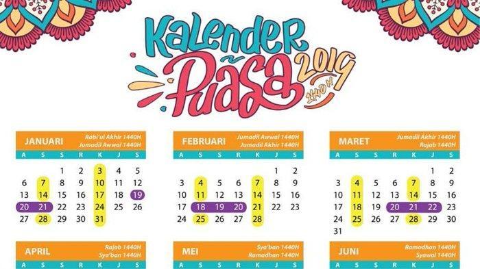 Kalender Puasa 2019.