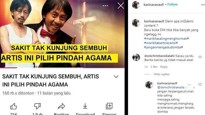 Karina Ranau syok saat Epy Kusnandar diisukan pindah agama karena sakit.