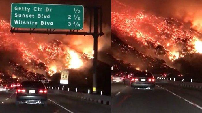 Merinding! Pria Ini Bagikan Video Perjalanannya saat Pagi Hari di Los Angeles, bak Dikepung Lava!