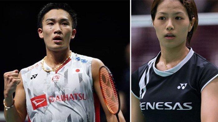 Kento Momota (kiri) dan Yuki Fukushima (kanan)