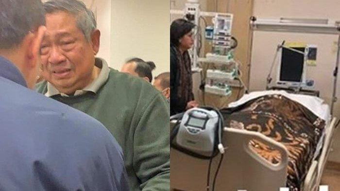 Kesedihan SBY dan jenazah Ani Yudhoyono yang ditutupi kain baik (kolase instagram/jansensitindaon)