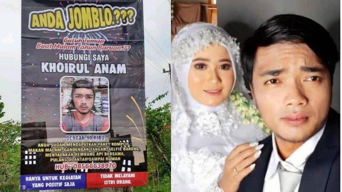 Setelah Viral Spanduk Jasa Menemani Tahun Baru, Khoirul Anam Pamer Foto Pernikahan Bareng Gadis Ini