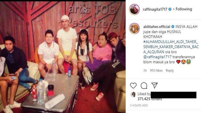 Raffi Ahmad unggah foto lawas bareng mendiang Olga Syahputra dan Julia Perez. Komentar Aldi Taher banjir kecaman