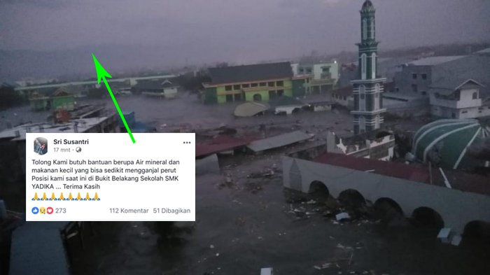 Viral Status Korban Tsunami Kelaparan di Palu 'Tolong Kami Butuh Minum & Makan di Bukit'