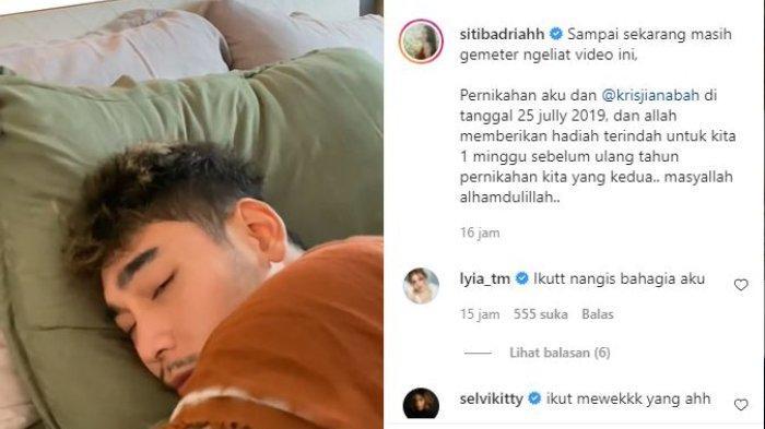 Krisjiana menangis saat Siti Badriah berikan kejutan testpack garis dua.