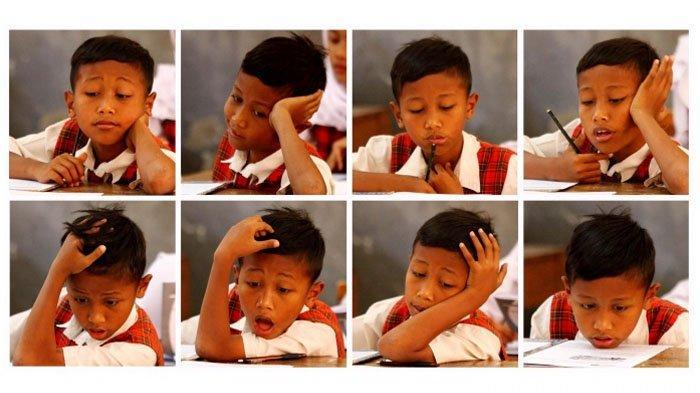 Kumpulan Foto Ragam Ekspresi Siswa SD Saat Mengerjakan USBN dari Menguap, Manyun hingga Bengong
