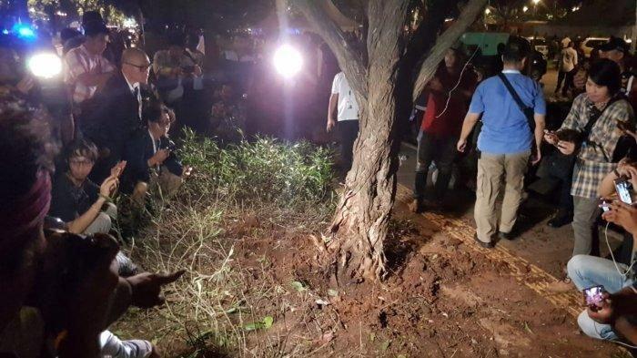 Kondisi pohon yang terkoyak setelah insiden ledakan di kawasan nobar debat capres kedua berlangsung, Parkir Timur Senayan, Minggu (17/2/2019).