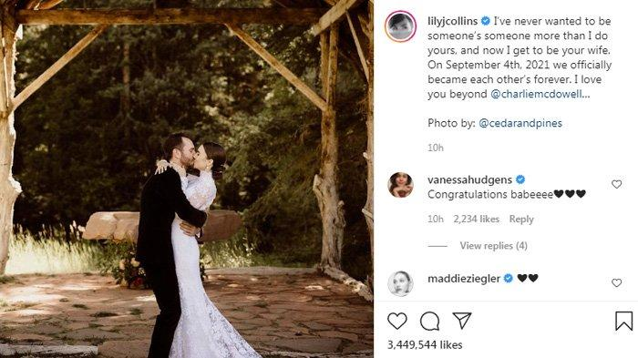 Lily Collins resmi menikah dengan Charlie McDowell.