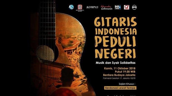 Sedang Berlangsung, Live Streaming Gitaris Indonesia untuk Negeri, Galang Dana untuk Sulawesi Tengah